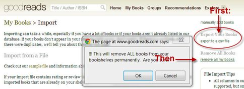 Remove your data from Goodreads