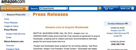 Amazon  Press Release Goodreads